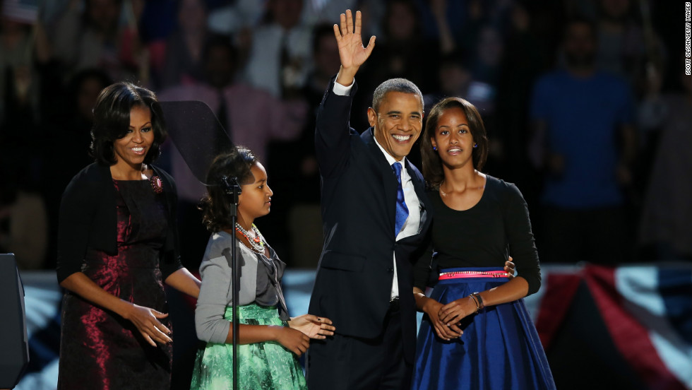 Victorious, President Barack Obama was joined onstage by first lady Michelle Obama and daughters Sasha and Malia.