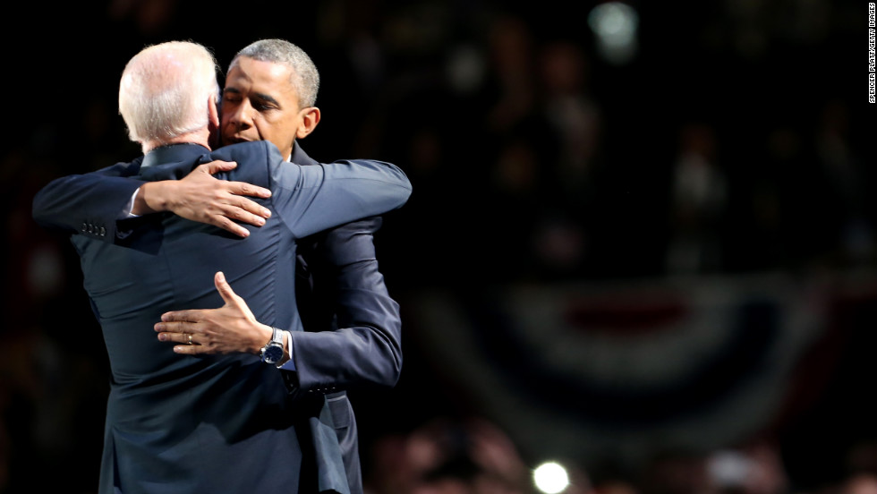 President Barack Obama embraced Vice President Joe Biden after delivering his victory speech at McCormick Place in Chicago.