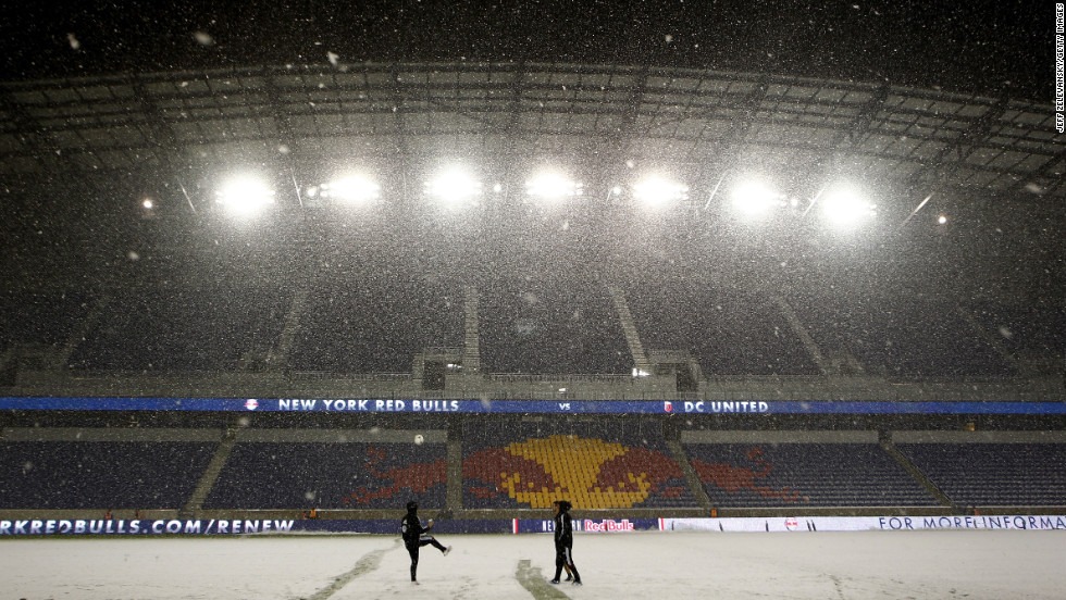 Heavy snow falls at Red Bull Arena in Harrison, New Jersey, before the Major League Soccer Eastern Conference semifinal match between  DC United and the New York Red Bulls on Wednesday. The playoff game was rescheduled due to Superstorm Sandy and is now scheduled to take place in the midst of a nor'easter.