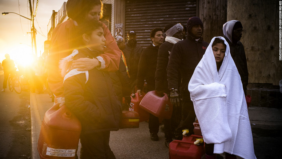 <strong>November 8: </strong>Hundreds of New Yorkers from Rockaway wait in line for gasoline in the aftermath of Sandy.