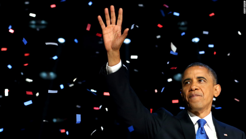 November: U.S. President Barack Obama waves to supporters after his victory speech at McCormick Place on election night November 6, in Chicago, Illinois. Obama won re-election against Republican candidate Mitt Romney.