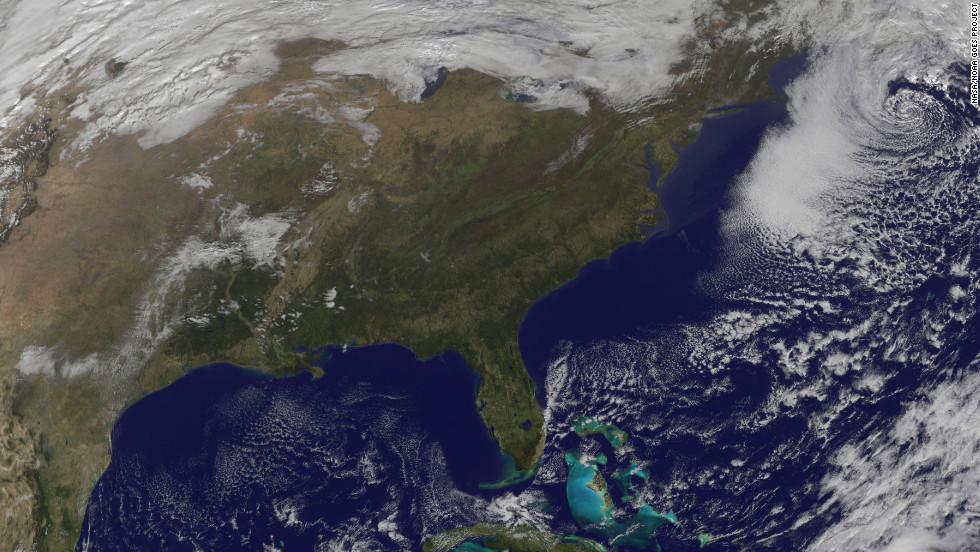 "More than one week after Superstorm Sandy hit, the Northeast prepares for a nor'easter, a strong low pressure system with powerful northeasterly winds coming from the ocean ahead of a storm. This satellite image captured at 11:01 a.m. ET on Friday, November 9, shows the winter storm over the East Coast.<a href=""http://edition.cnn.com/2012/10/30/us/gallery/sandy-damage/index.html""><strong> See photos of the aftermath of Superstorm Sandy.</a></strong>"