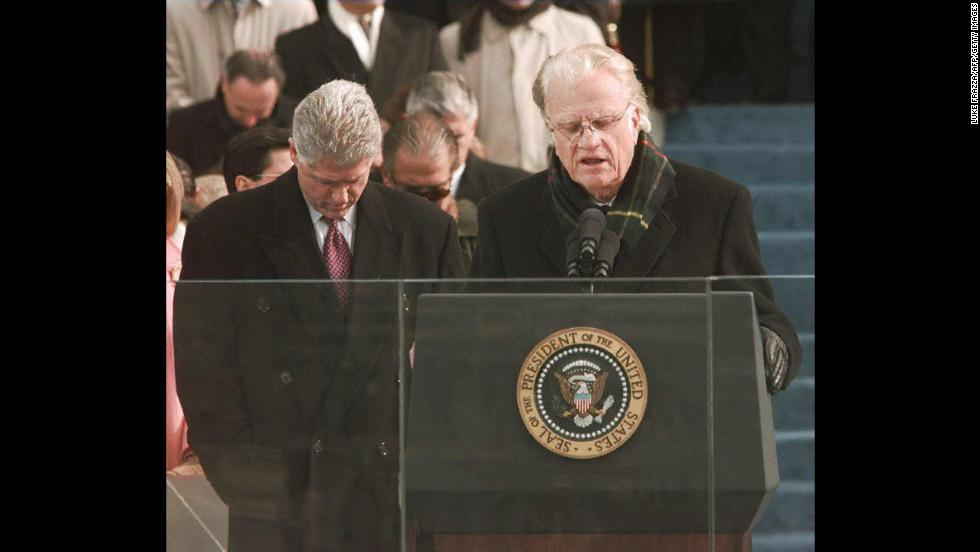 On January 20, 1997, Graham gives the invocation at the second inauguration of President Bill Clinton on Capitol Hill.