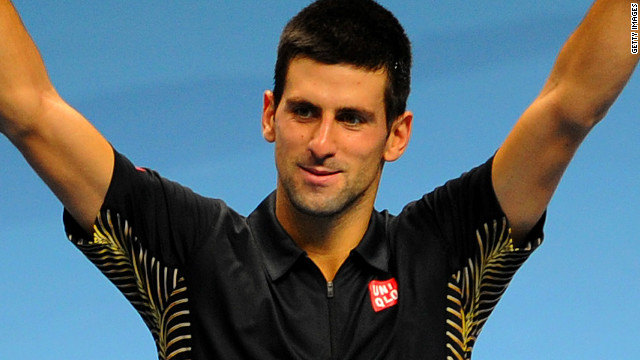 World No. 1 Novak Djokovic celebrates after Tomas Berdych on day five of the ATP World Tour Finals in London.