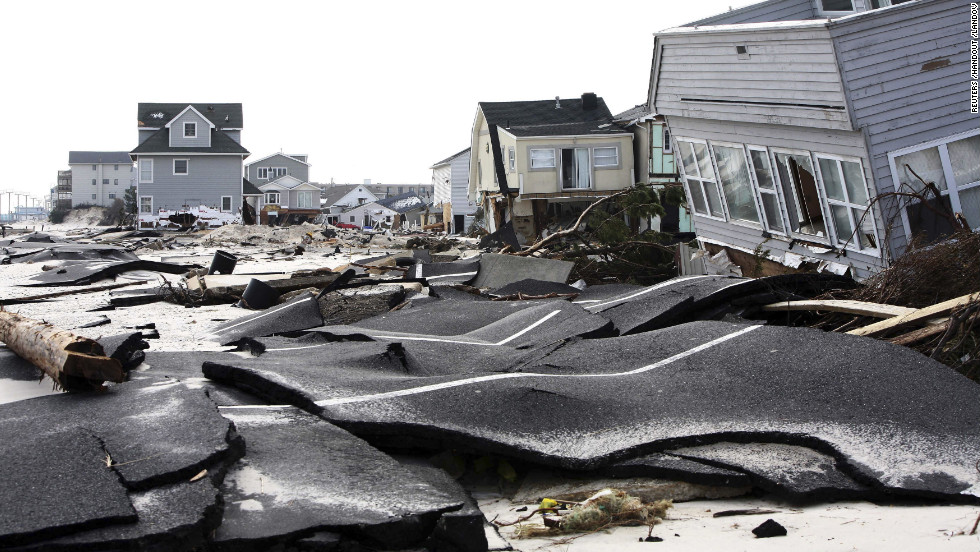 Streets in Ortley Beach, New Jersey, were destroyed by Sandy.