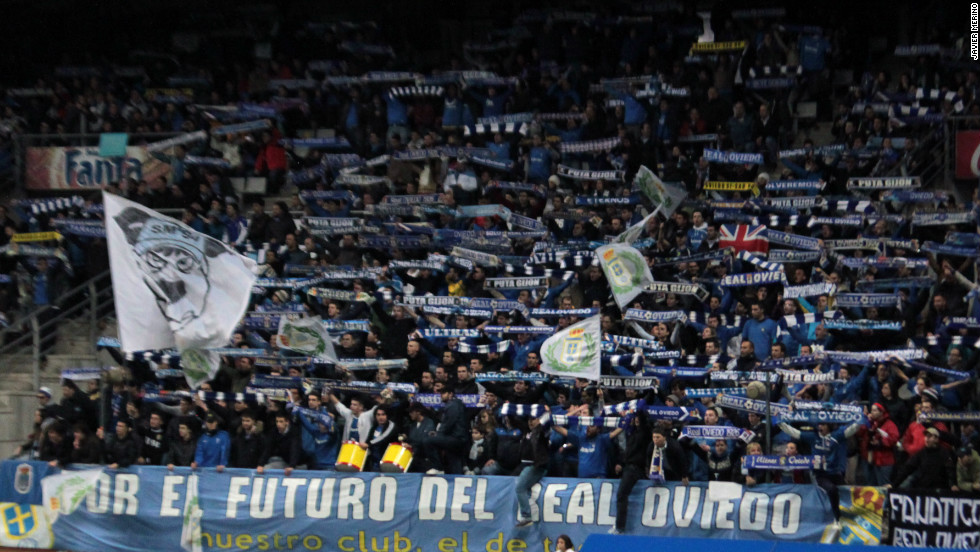 "Real Oviedo fans show their support for the club in the Estadio Carlos Tartiere with a banner reading ""For the future of Real Oviedo"". The third-tier club's financial problems are so great that they have turned to their fans for help, offering them the right to buy shares in Oviedo."