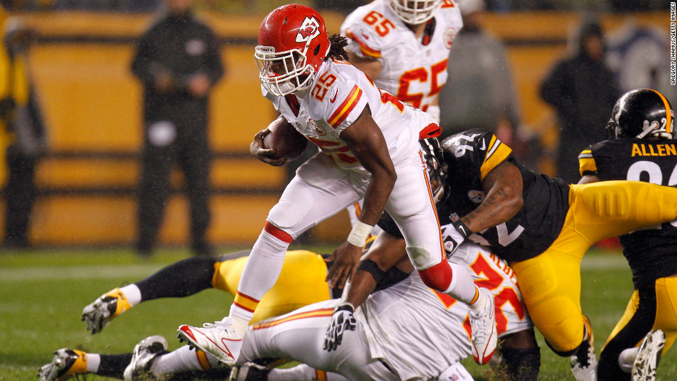 Jamaal Charles of the Kansas City Chiefs makes a play against the Pittsburgh Steelers.
