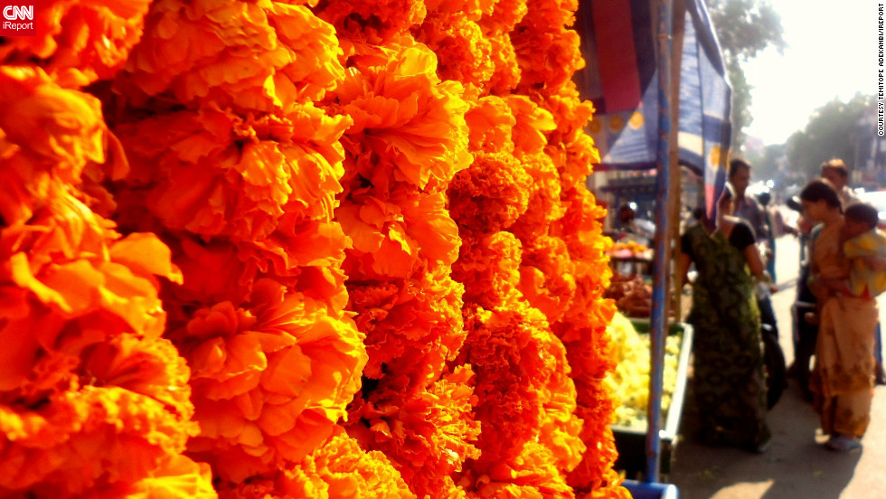 "The vibrantly colored flowers in this picture, captured in Secunderabad, India, display the electrifying energy that Diwali brings, says iReporter <a href=""http://ireport.cnn.com/people/giveagalapal"">Temitope Adekanbi</a>. ""The cultural emphasis [of] the idea of 'good trumping evil' through the use of bright colors, firecrackers, lights, and lamps, I believe, add a powerful and magical element to the day,"" she says."
