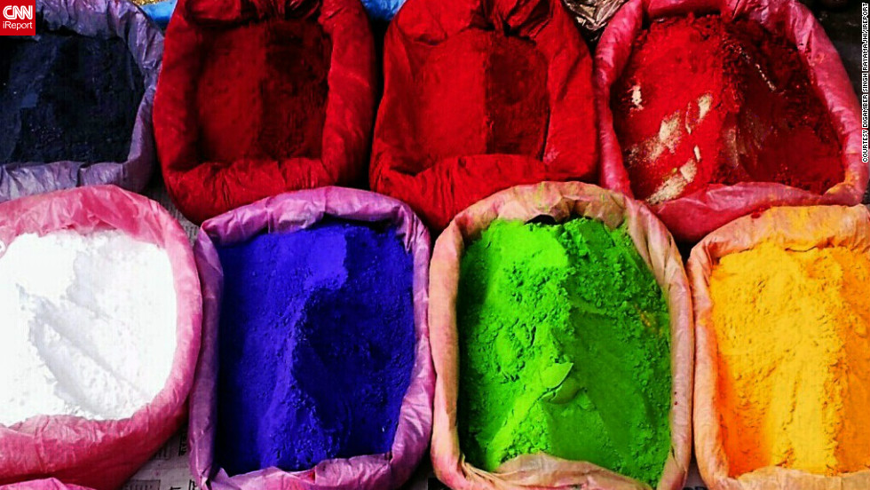 "This image of colorful powders, which are used to make rangoli artworks during Diwali, was snapped by iReporter <a href=""http://ireport.cnn.com/docs/DOC-880606"">Digamber Singh Rayamajhi</a> as he walked through the busy streets of Kathmandu, Nepal.  <br /><br />""As it is Diwali time the roads were bustling with people coming to shop,"" he says. ""There were lot of little street shops on the pedestrian foot paths selling candles, colors, spices. I thought it looked beautiful and I just clicked few pics through my cell phone."""
