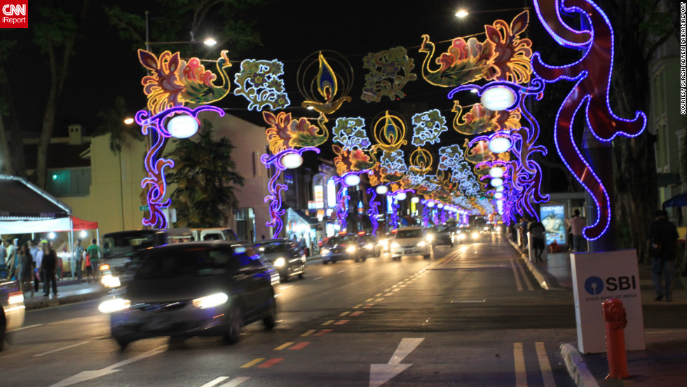 "This photo of Serangoon Road, the main thoroughfare of Singapore's Little India, was snapped by <a href=""http://ireport.cnn.com/people/apsuresh2009"">Suresh Adiyeri Paikat</a>. Indians make up 8% of Singapore's population and just over 4% are Hindus, according to the Singapore government."