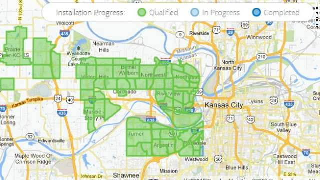 This map shows Google's progress in installing ultra-high speed home Internet to Kansas City, Kansas.
