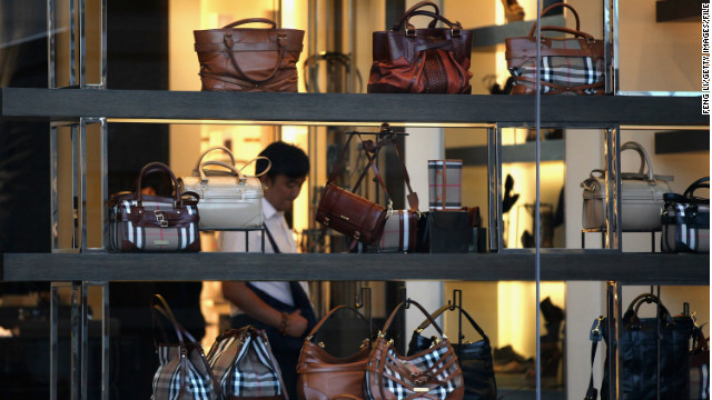 A Chinese consumer browses the Burberry flagship store in Beijing.