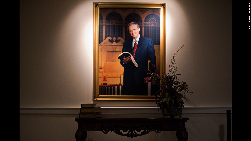 A portrait of Charles Stanley greets visitors to First Baptist Church Atlanta. Stanley's divorce led to calls for his resignation, but Stanley refused to step down, saying he answered to a higher authority.