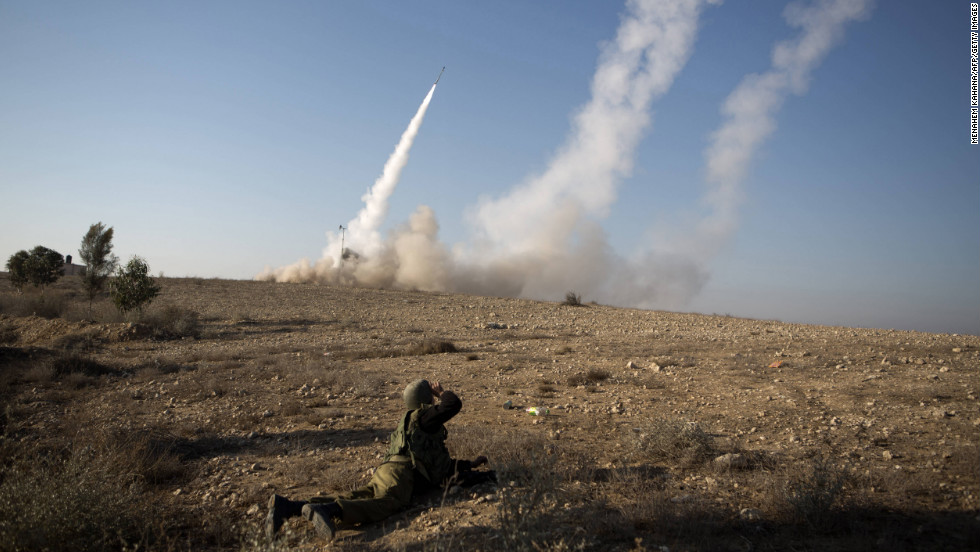 The Israeli military launches a missile Thursday, November 15, from the southern city of Beersheba.
