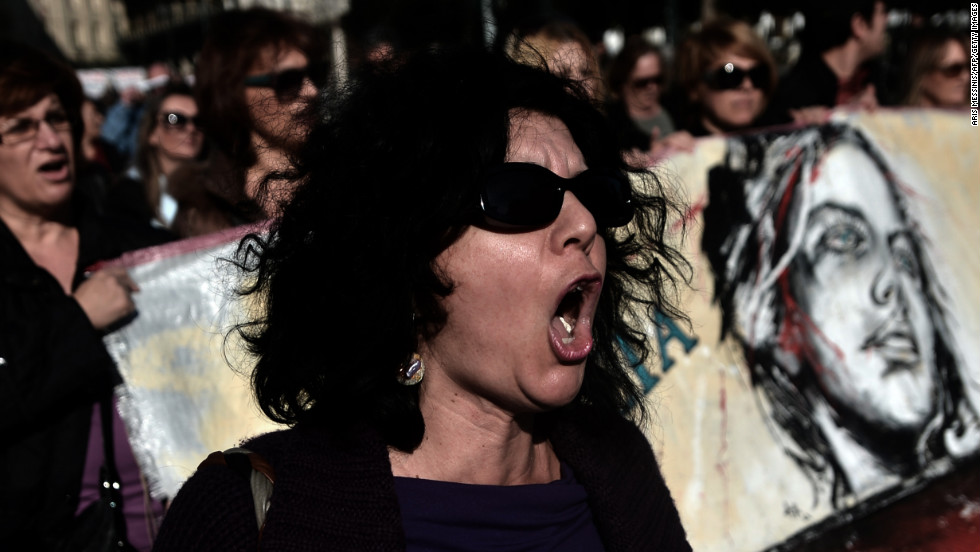 A protester shouts slogans during an anti-austerity demonstration Wednesday in Athens.