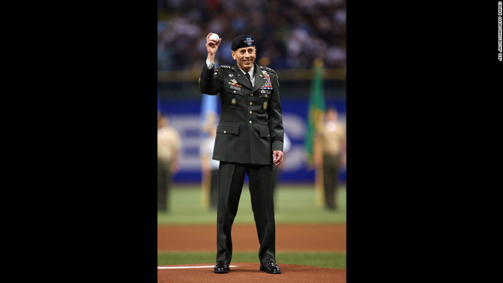 Petraeus acknowledges the fans before throwing out the ceremonial first pitch of the second game of the 2008 MLB World Series between the Philadelphia Phillies and the Tampa Bay Rays in October 2008 in Tampa.