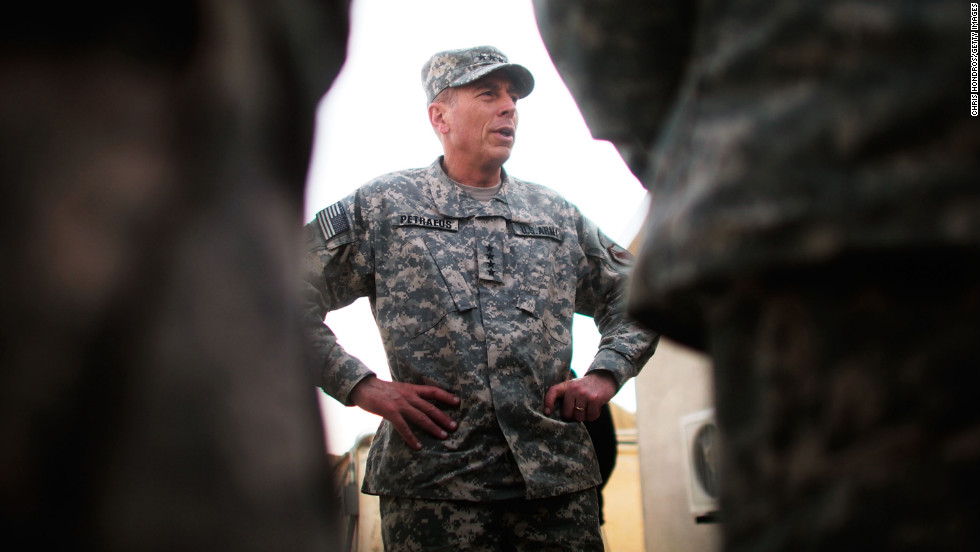 Petraeus announced October 6 that he was diagnosed in February with early stage prostate cancer and underwent two months of radiation treatment. Pictured, the commander of U.S. Central Command meets young officers in October 2009 at Forward Operating Base Wilson in Kandahar Province, Afghanistan.  Petraeus had been touring bases to meet with base commanders.