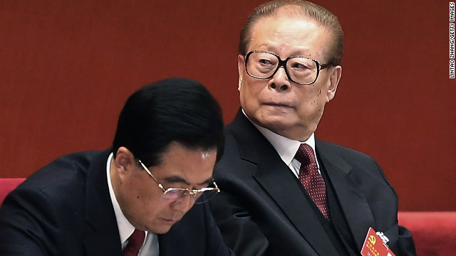 Chinese President Hu Jintao (L) and former president Jiang Zemin attend closing of the 18th Communist Party Congress at the Great Hall of the People on November 14, 2012 in Beijing, China. (Photo by Lintao Zhang/Getty Images)