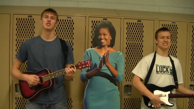 Students sing complaint to Mrs. Obama