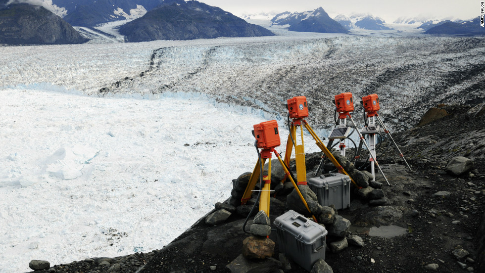 "EIS time lapse cameras at Columbia Glacier, Alaska, Aug 2009. ""I never really expected to see this magnitude of change. Every time we open the backs of these cameras it's like 'wow, is that what's just happened,'"" Balog said. <em>Courtesy of James Balog</em></em><em>"
