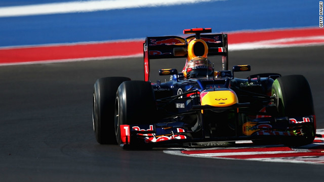 Sebastian Vettel in action during practice for the United States Grand Prix at the Circuit of Americas in Texas.