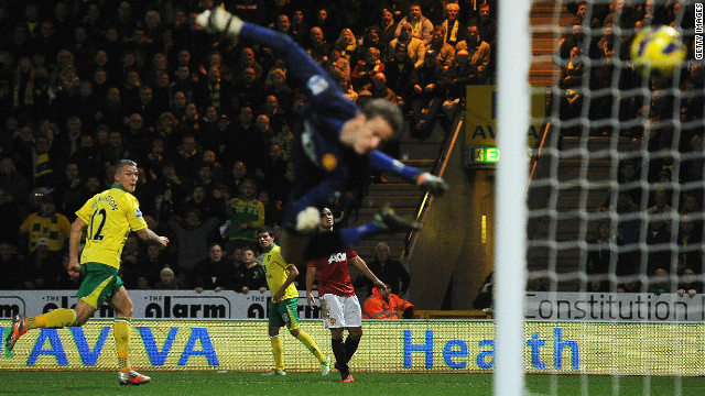 Norwich midfielder Anthony Pilkington heads the winning goal past Manchester United goalkeeper Anders Lindegaard.