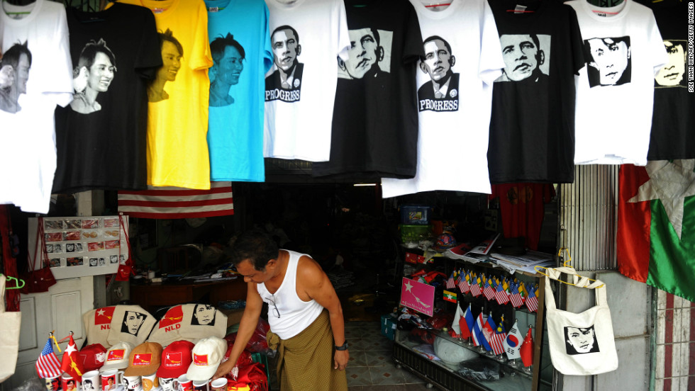 T-shirts printed with pictures of US President Barack Obama and Myanmar opposition leader Aung San Suu Kyi at a shop in downtown Yangon on Saturday