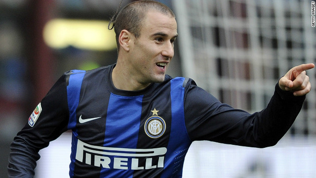 Rodrigo Palacio opened the scoring for Inter but they could only manage a 2-2 draw with Cagliari at the San Siro