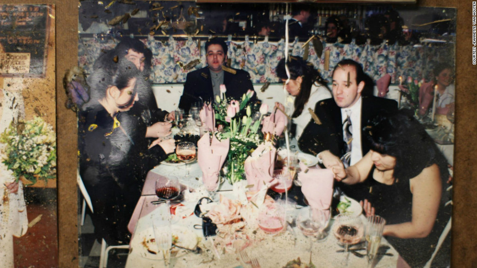 A group dines out in this picture found in Jeannette Van Houten's hunt for photos after Sandy.