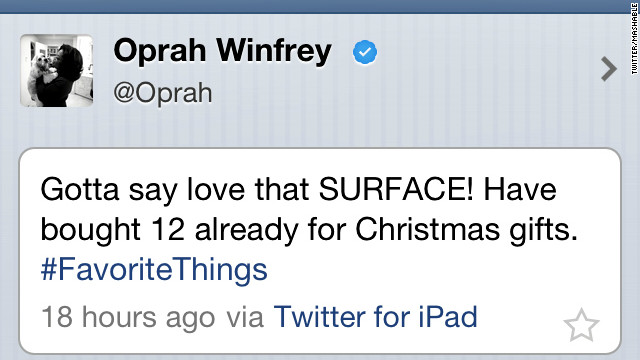 Cnn World News Twitter: Oprah Plugs Surface Tablet -- From Her IPad