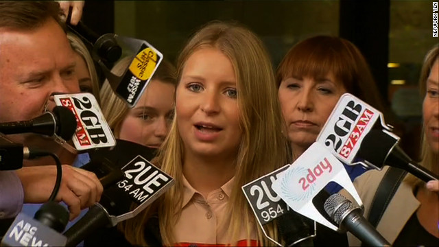 Madeline Pulver speaks to the media outside the District Court in Sydney, Australia on Tuesday, November 20, 2012.