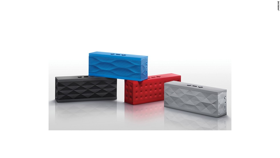 "Built-in smartphone and tablet speakers don't, as a rule, rock. This portable Bluetooth speaker is the perfect solution. It combines slick design with great sound quality and is available in a variety of customizable colors and textures. <a href=""https://jawbone.com/speakers/jambox/overview"" target=""_blank"">The Jawbone Jambox</a> is just 2.24 inches tall and costs $199."