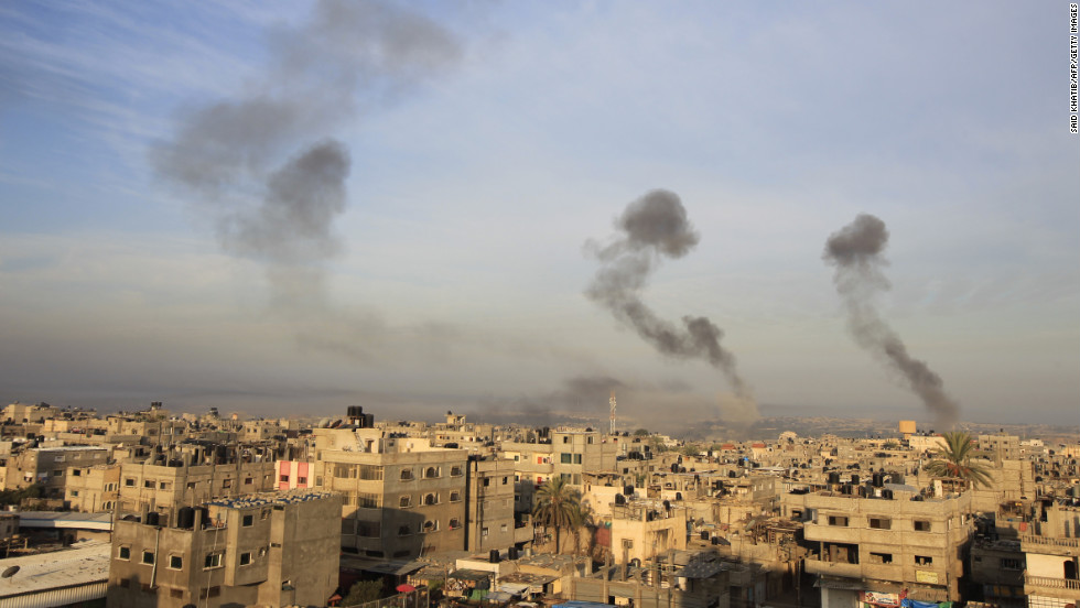 Smoke billows after Israeli airstrikes in southern Gaza on Wednesday.