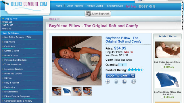 The Boyfriend Pillow, sold at DeluxeComfort.com, is a recent trending topic online.