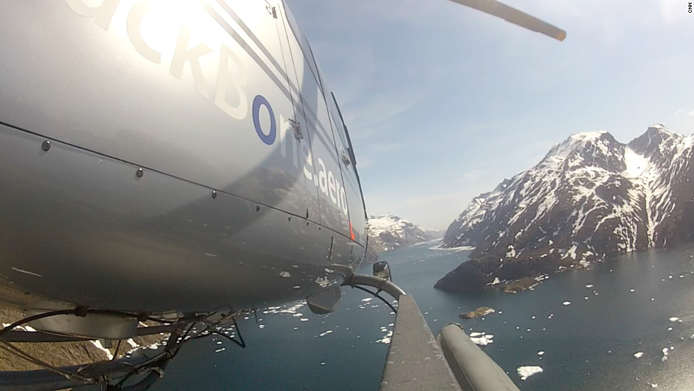 Ice Patrol helicopter flies across southern Greenland. The chopper is operated by the Danish Meteorological Institute.