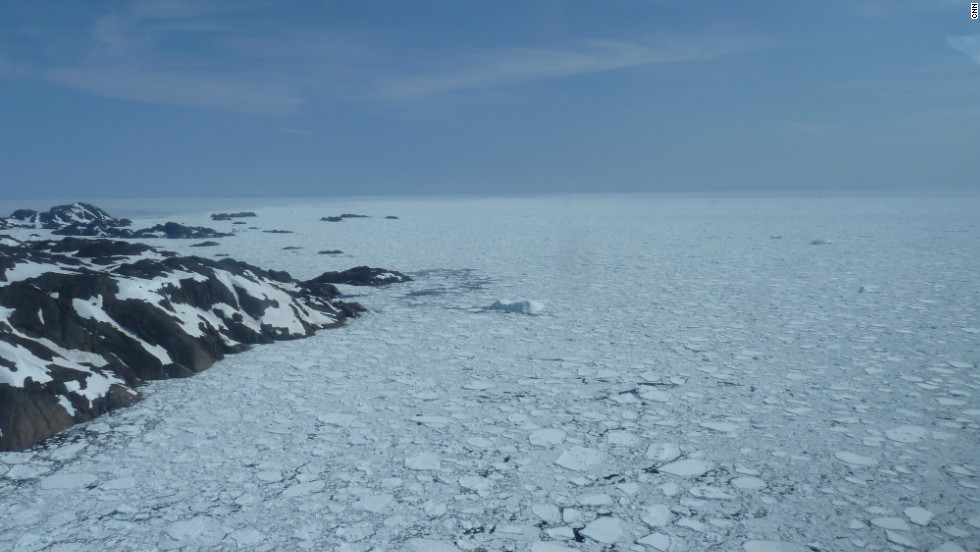 Pack ice on the Atlantic Ocean at the aouthern tip of Greenland. Would Erik the Red have been able to penetrate this with his wooden boats?