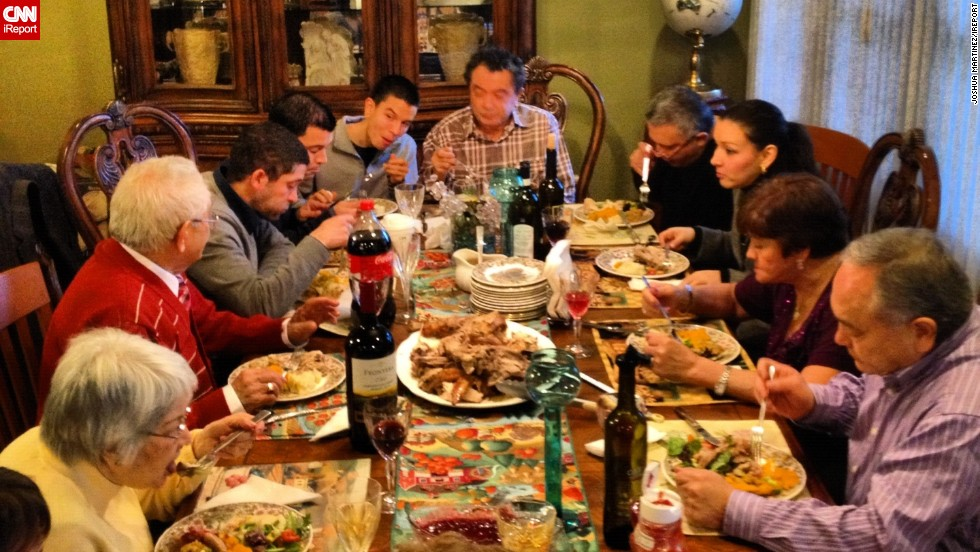 "<a href=""http://ireport.cnn.com/topics/881964"">Share a photo of your Thanksgiving spread on CNN iReport</a>.iReporter Joshua Martinez of Milton, Massachusetts, is thankful to be able <a href=""http://ireport.cnn.com/docs/DOC-885170"">to spend Thanksgiving with his extended family</a>. ""There are a lot of people out there, especially my friends, who aren't able to celebrate with their family, so that's something I'm very appreciative of."""
