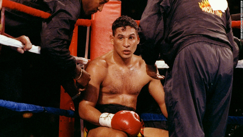In 1992, Camacho sits in his corner between rounds of his fight against Eddie Van Kirk.