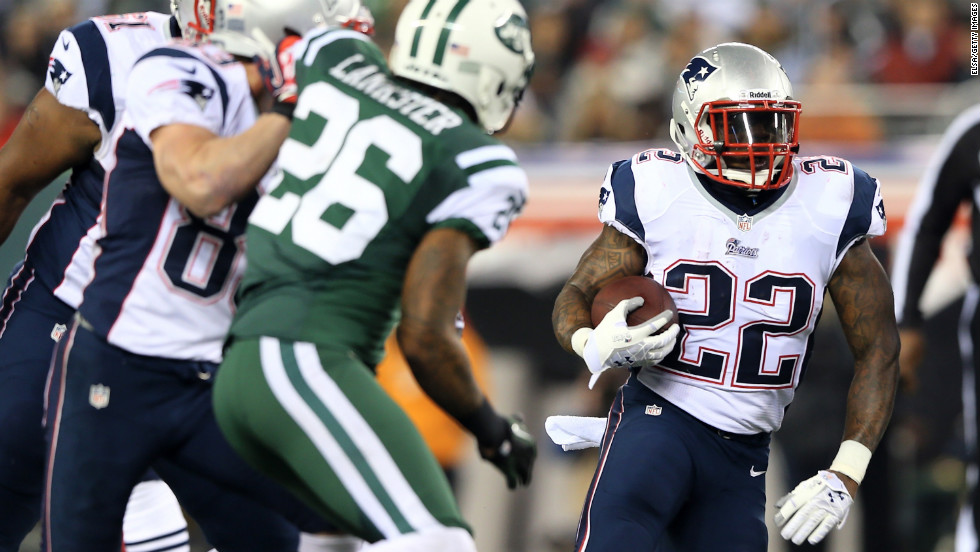 Stevan Ridley of the New England Patriots carries the ball during Thursday night's game against the New York Jets.