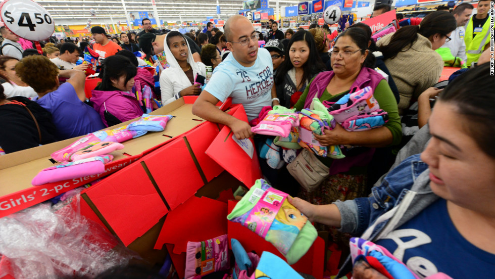Early shoppers look for bargains at a Walmart Superstore in Rosemead, California.