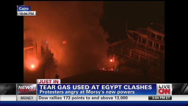 Air thick with tear gas in Tahrir Square