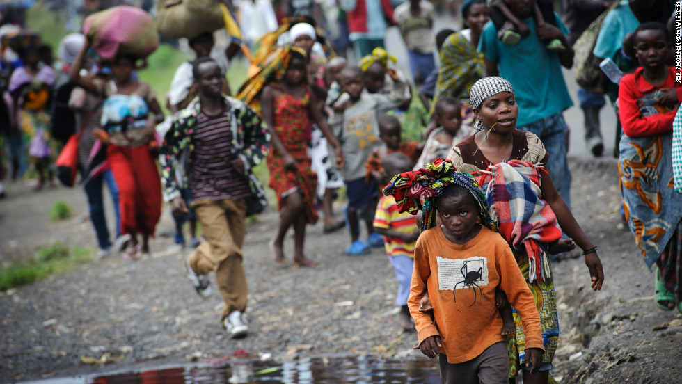 In November 2012 the M23 group besieged Goma, the regional capital of Congo's eastern province of North Kivu. The violence forced tens of thousands of Congolese out of their homes. Here, people flee the town of Sake, 26km west of Goma, on November 22, 2012.