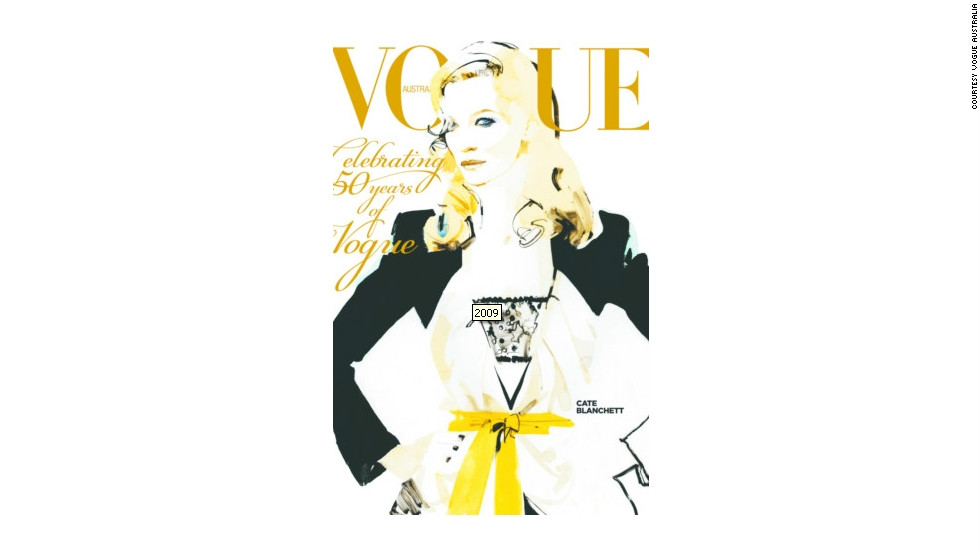 One of Vogue Australia's most memorable front covers was the 50th anniversary edition, featuring an illustrated image of Oscar-winning actress Cate Blanchett.