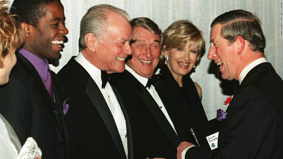 "Britain's Prince Charles shares a light moment with actors Adrian Lester, left, Larry Hagman and Mike Nichols and journalist Diane Sawyer when the prince met the cast of the film ""Primary Colors"" on October 29, 1998."
