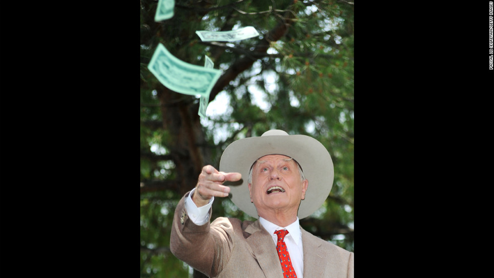 "Hagman poses at a photo call for ""Dallas"" during the 2010 Monte Carlo Television Festival."