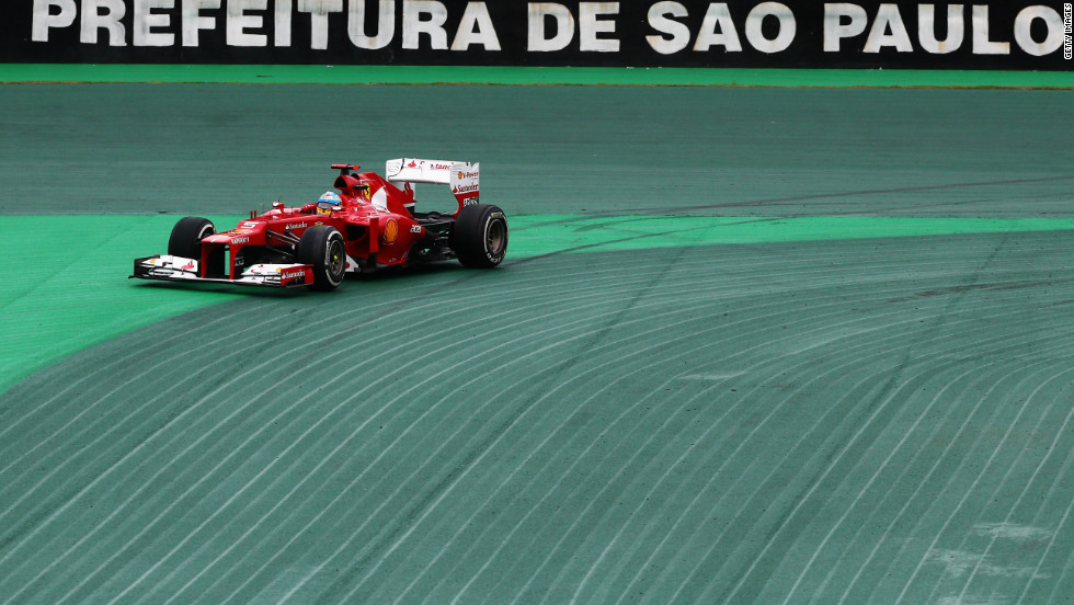 Alonso lost grip on the first turn of the circuit as tension soared during a pulsating race at Interlagos. The Ferrari man, who last won the title back in 2006, was hoping to collect his third championship trophy by sneaking past Vettel.