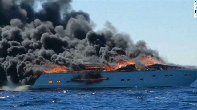 See Coast Guard respond to yacht fire