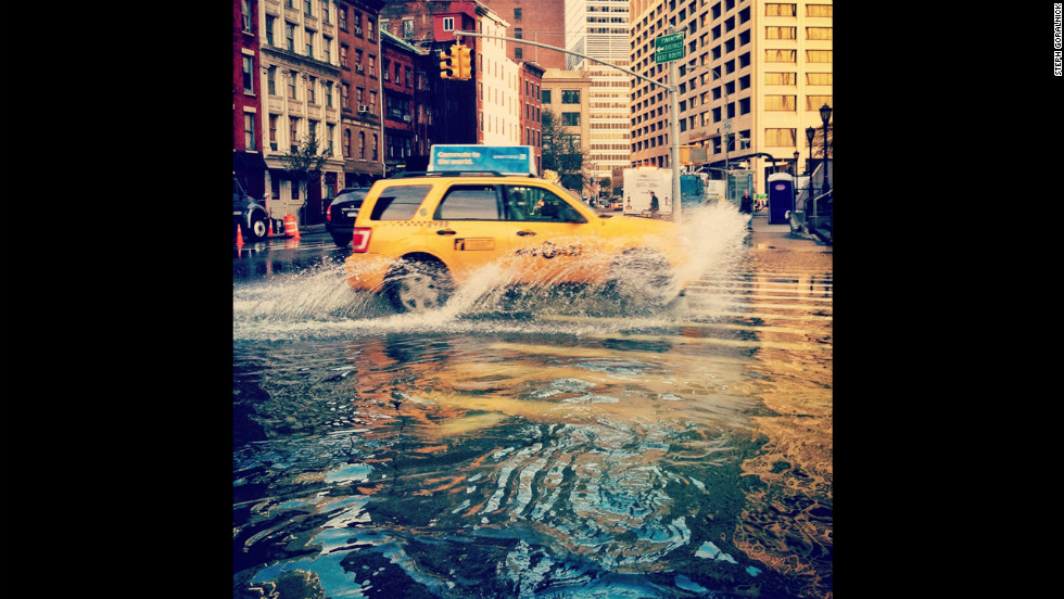 New Yorker Steph Goralnick used her Instagram photos of New York after Superstorm Sandy to document the need for help. Here, the streets of Lower Manhattan are flooded after water was pumped out of buildings.