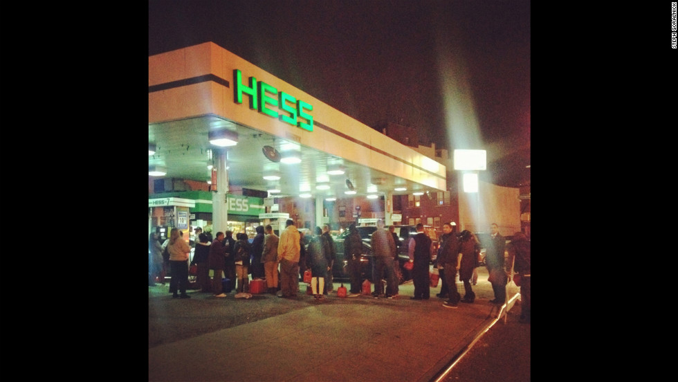 Residents line up for gas in Greenpoint, Brooklyn. New York City gas rationing ended on Saturday, November 24.