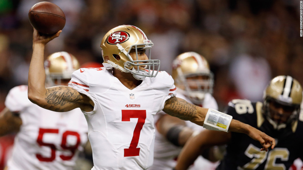 Colin Kaepernick of the 49ers looks to throw the ball against the Saints on Sunday.